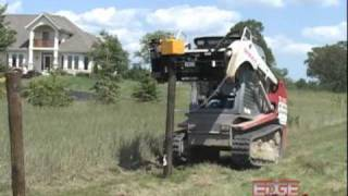 Edge Post Pounder And Puller Attachment Drives Wooden Or Solid Steel Property Line Fence Posts