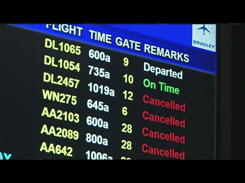 Snowstorm causing flight cancellations, delays at Bradley International Airport