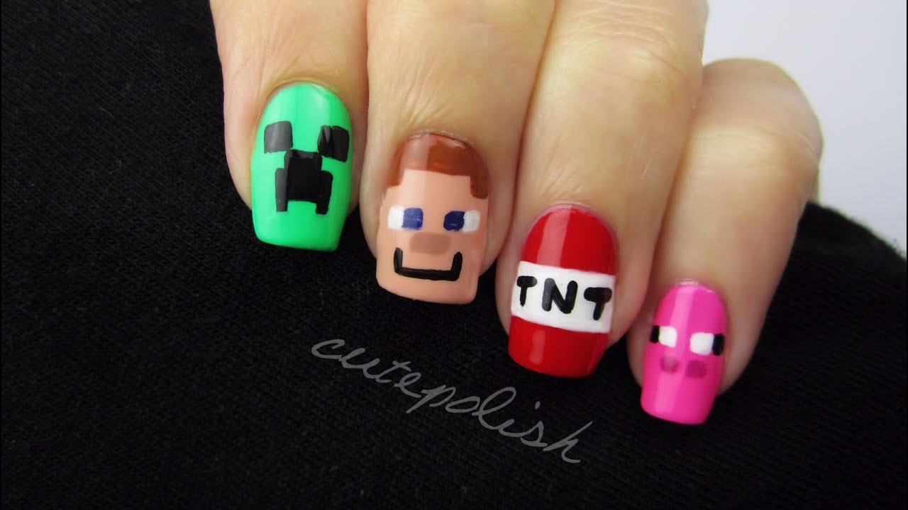 - Minecraft Nail Art Nerd Nail Series - YouTube