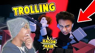 TROLLING AS BACON HAIR in ROBLOX JAILBREAK!!!