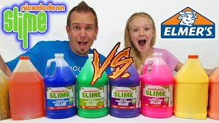 3 Colors of GIANT Glue Slime Challenge! 3 Gallons Nickelodeon Glue vs 3 Gallons Elmer's Glue!!!