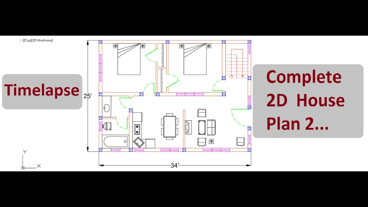 Complete 2d house plan 2 timelapse autocad 2d design for 2d plan drawing software