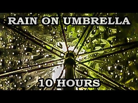 Relaxing rain sound under umbrella - 10 hours video