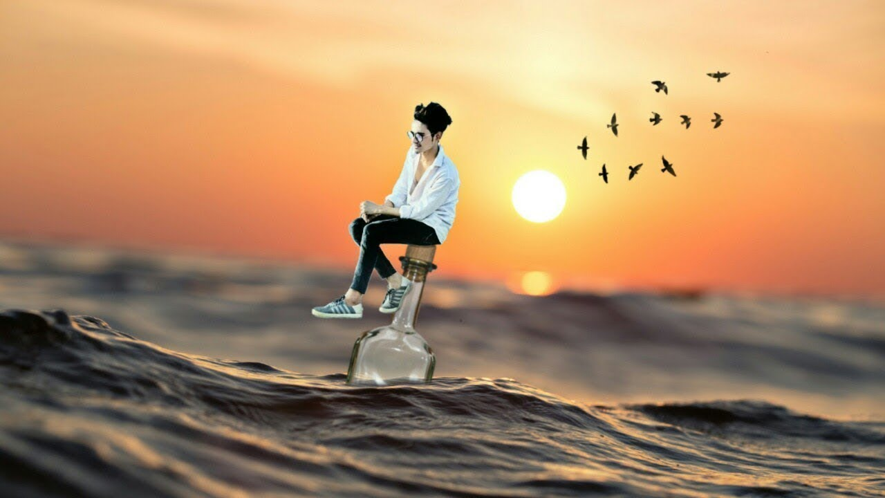 Alone boy in underwater photo editing new 3d photo editing picsart amazing manipulation editing