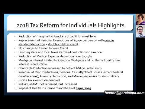TAX POWER HOUR: 2018 Tax Reform explained by CPA's: Hector Garcia and Jody Padar