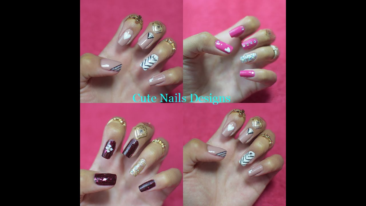 3 DISEÑOS DE UÑAS FACILES Y BONITOS( CUTE NAILS DESIGNS) - YouTube