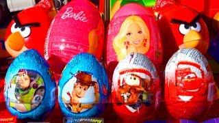8 surprise eggs unboxing toy story disney pixar cars 2 angry birds barbie eggs like kinder surprise