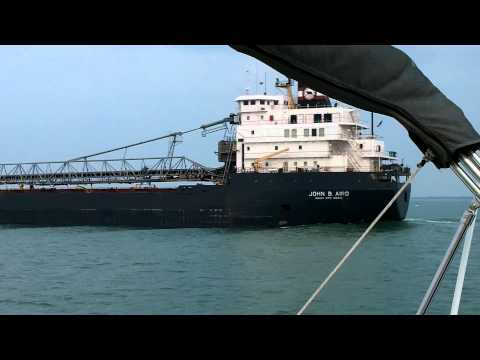 Chasing a Lake Freighter in Lake St Clair. 1080p