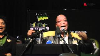 ANC president Jacob Zuma sang Umshini Wami at the fourth National Policy Conference in Midrand on Tuesday 26 June, 2012.