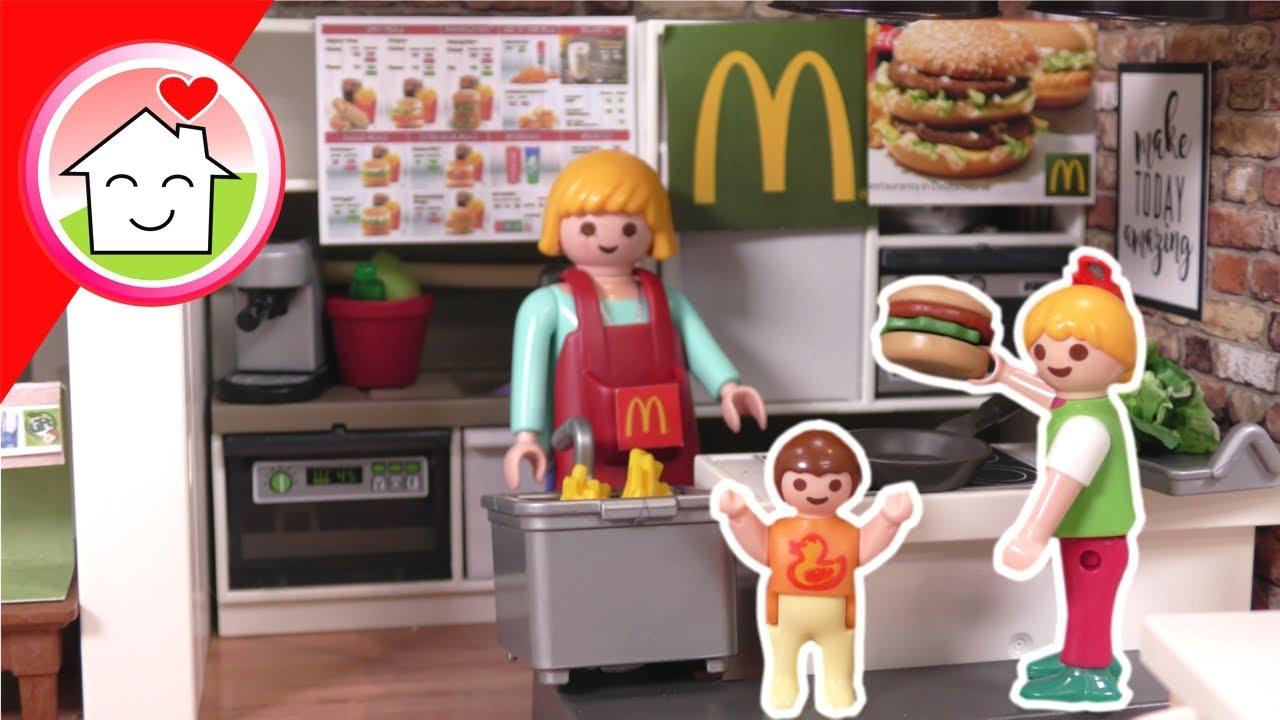 Playmobil Familie Hauser - eigener McDonalds zu Hause - Geschichte mit Anna und Lena