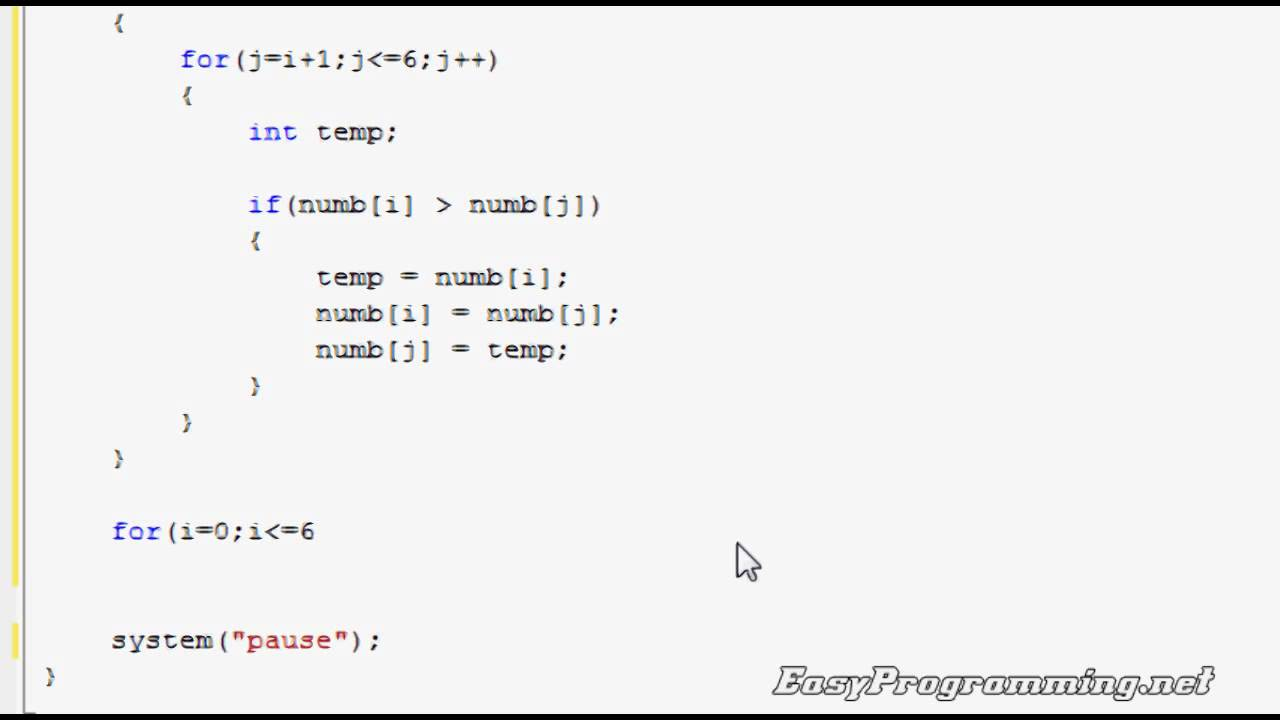 Easy Programming Beginner C Tutorial The Bubble Sort
