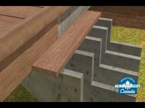 Composite deck building stair installation youtube for Building a composite deck