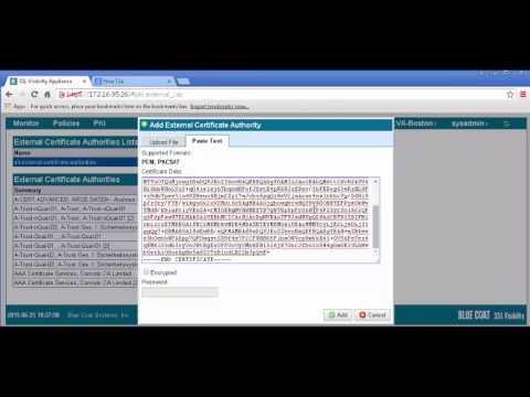 Video Tutorial: SSL VA First Steps - Using the SSL VA with the Blue Coat  ProxySG