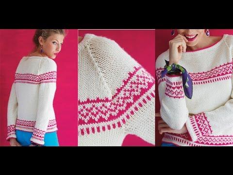 23 Modern Fair Isle Raglan, Vogue Knitting Holiday 2014 - YouTube