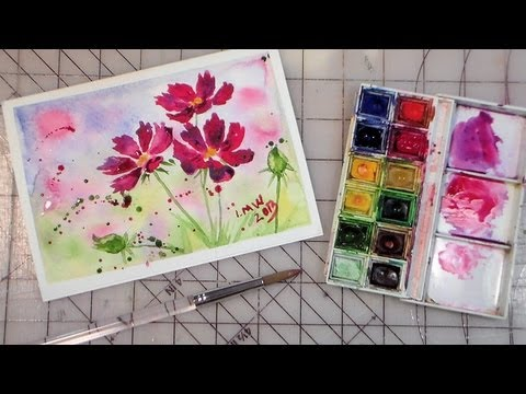 How to paint cosmos easy full tutorial youtube for Easy watercolor tutorial