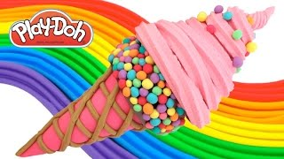 play doh how to make a candy waffle cone with pink ice cream play dough art rainbowlearning