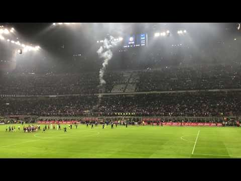 2017 Inter 3-2  Milan dallo stadio. Tripletta icardi