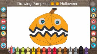 How to Draw Coloring Halloween Pumpkin With Colored Markers For Kids