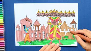 How to draw and color Ram Vs Ravan - Dussehra Festival