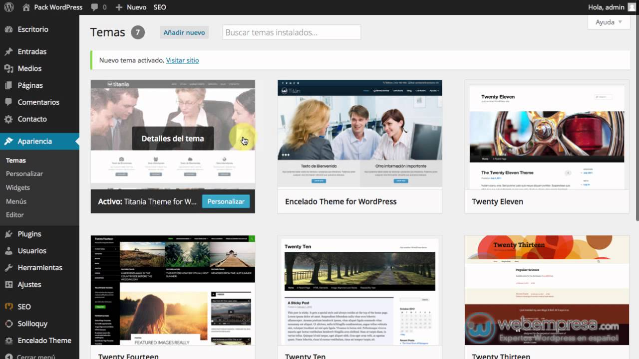 Descargar WordPress Español y con Plantilla Gratis - Instalar Tema ...
