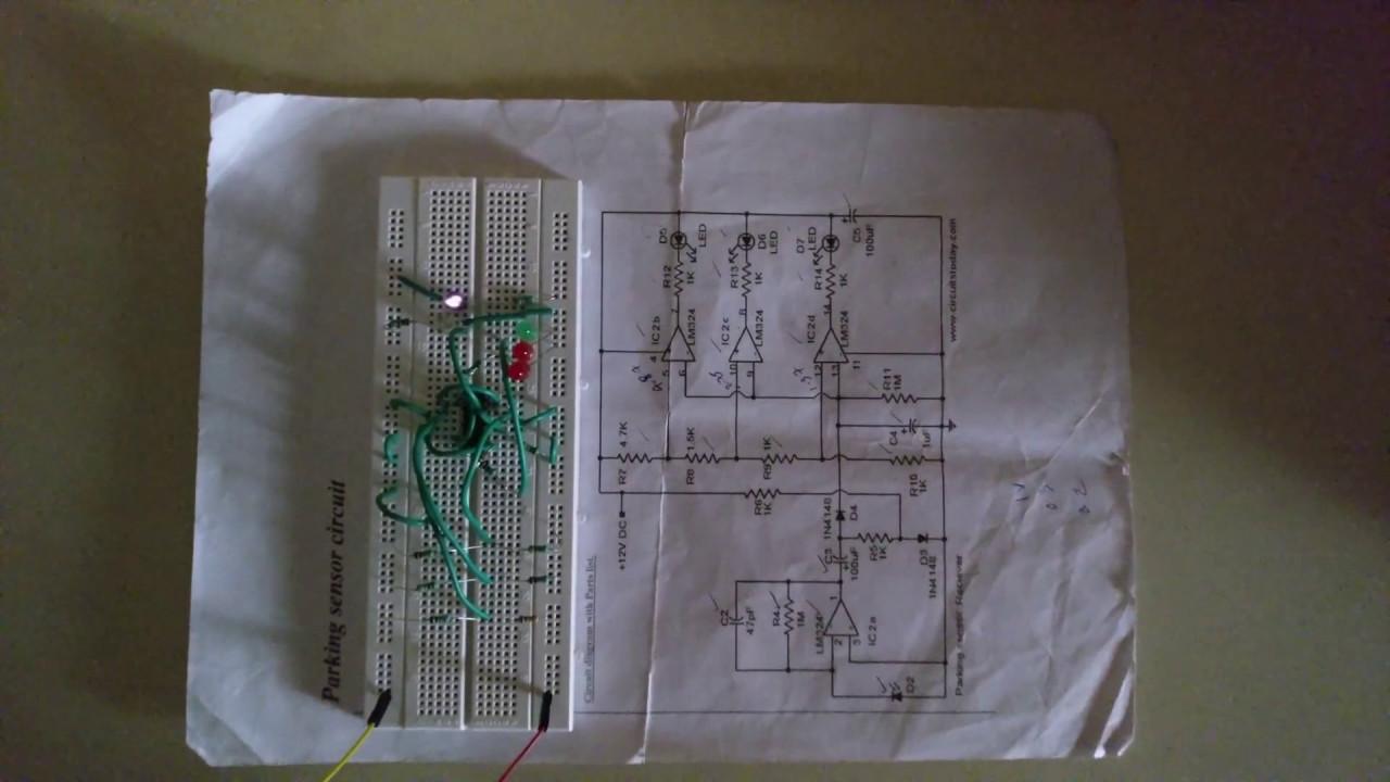 Parking Sensor Circuit Using Lm324 Youtube Ir Diagram