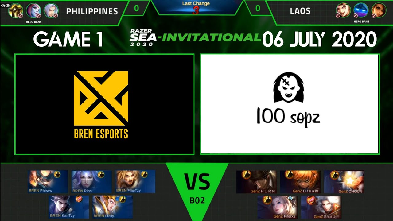 Bren Esports Vs Gen X 100sopz Game 1 06 July 2020 Group B Razer Sea Invitational 2020 Youtube