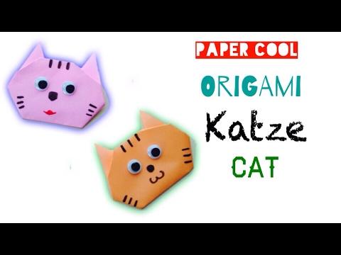 origami katze falten mit papier einfachen katze basteln mit kindern diy origami tiere. Black Bedroom Furniture Sets. Home Design Ideas