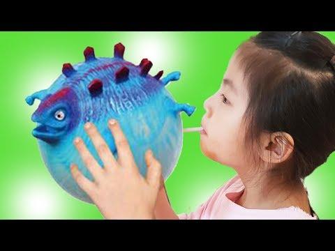 공룡이 커졌어요!! (반전주의) 서은이의 공룡 풍선 탱탱볼 커지는 빨대 손인형 Growing Dinosaur Balloon for Kids