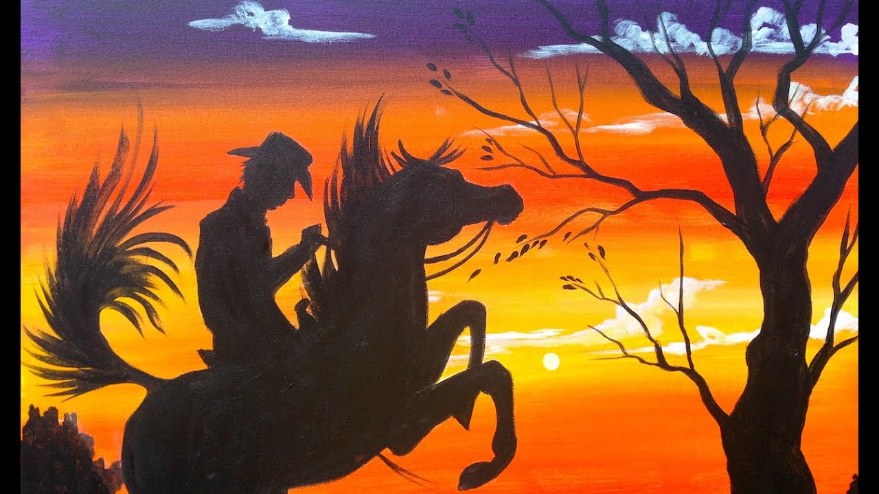 easy acrylic painting cowboy at sunset the art sherpa