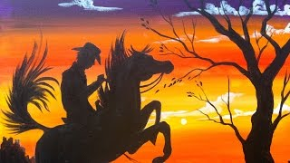 Easy Acrylic Painting | Cowboy at Sunset | The Art Sherpa