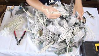 DOLLAR TREE  GLAM WREATH / FROSTY CHRISTMAS DIY / Glam Christmas Tutorial 2018 (On A Budget)