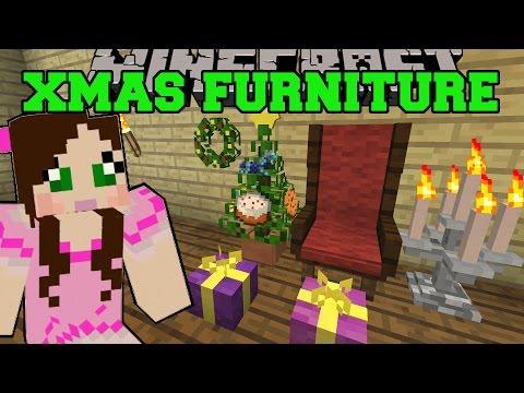 Minecraft: CHRISTMAS FURNITURE (GRAND CHAIR, WREATH, LIGHTS, TREE, & GIFTS) Mod Showcase