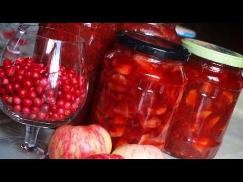 Варенье из брусники и яблок дольками