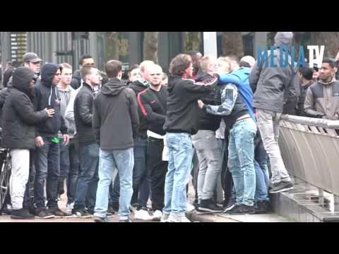 Ongeregeldheden in centrum Rotterdam na voetbalwedstrijd