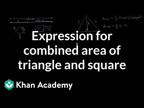 Expression for combined area of triangle and square | Differ