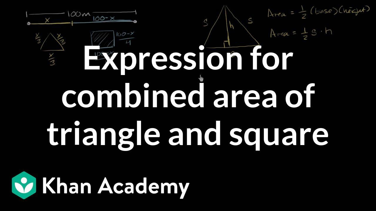 Optimization: area of triangle & square (Part 1) (video