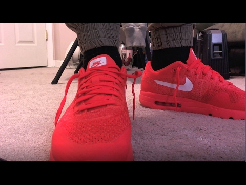 retail prices 956f8 24875 AIR MAX 1 FLYKNIT UNBOXING  ON FEET! (BRIGHT CRIMSON) 2017