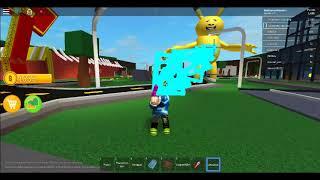 Using the ZeusGun in A Very Hungry Pikachu Roblox