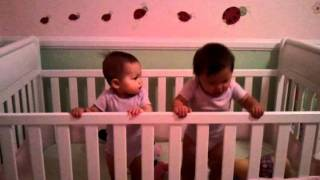 Twin Babies In Crib - Funny