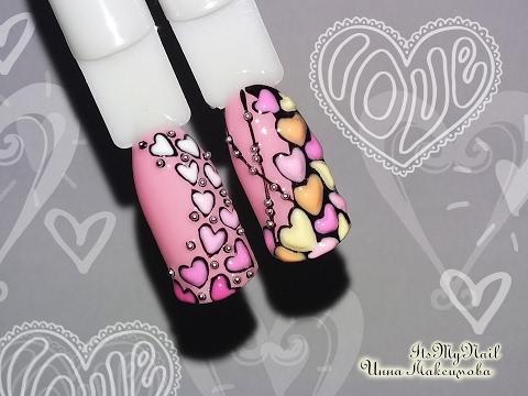 дизайн сердечки на ногтях фото