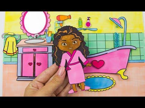 MINIATURE DOLLHOUSE BATHROOM HOW TO MAKE PAPER BATH MORNING ROUTINE DIY FO GIRLS