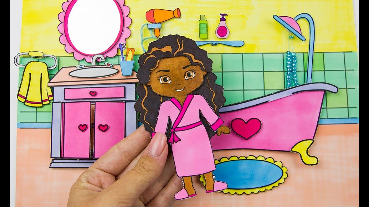 MINIATURE DOLLHOUSE BATHROOM HOW TO MAKE PAPER BATH MOANA MORNING     MINIATURE DOLLHOUSE BATHROOM HOW TO MAKE PAPER BATH MOANA MORNING ROUTINE  DIY FO GIRLS