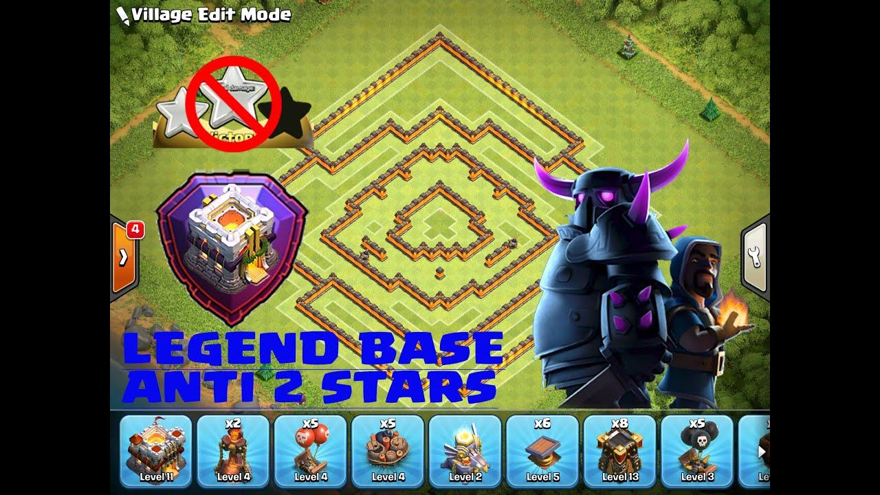 clash of clans th11 legend new base anti 2 stars warfarming base build replay coc youtube - Stars War