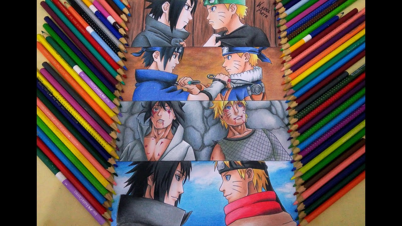 Speed Drawing Sasuke and Naruto (Rivalidade e amizade ...