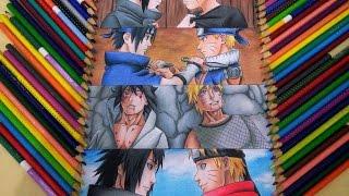 Speed Drawing Sasuke and Naruto (Rivalidade e amizade)