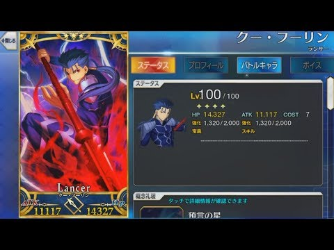Fate/Grand Order [FGO] -  Cu Chulainn Level 100 + Bond CE