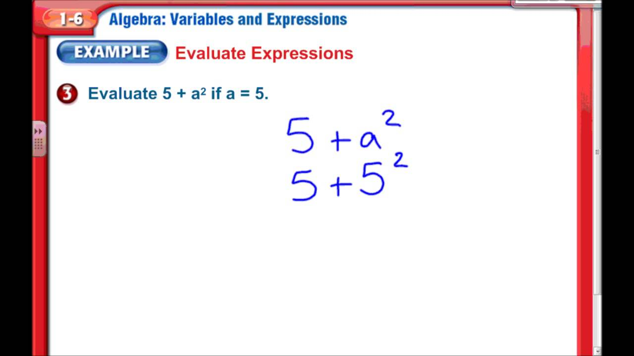 Variable & Expressions, Chapter 1 Lesson 6, 7th Grade Math - YouTube