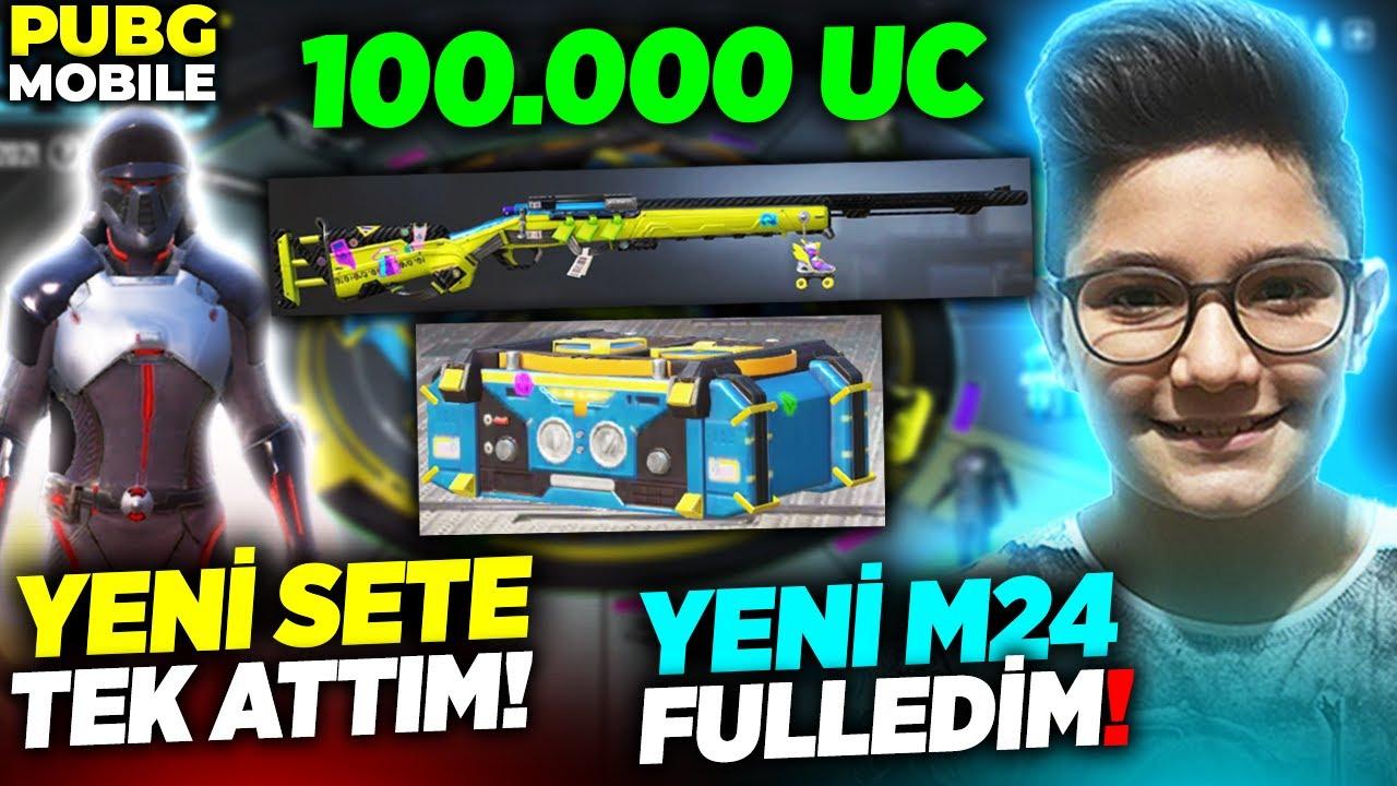 OHA!! TOPLAM 100.000 UC!!!😱 YENİ SET'E TEK ATTIM!! YENİ M24 FULLEDİM!!😱 - PUBG Mobile