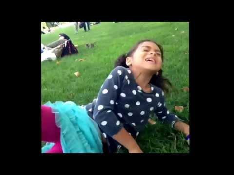 Girl eats grass