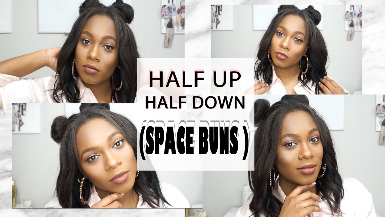 Tutorial Half Up Half Down Space Buns On Short Hair Sew In Youtube